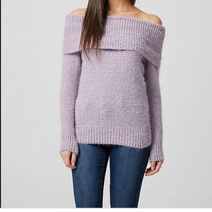 Le Chateau Fuzzy Purple Off The Shoulder SweaterXS